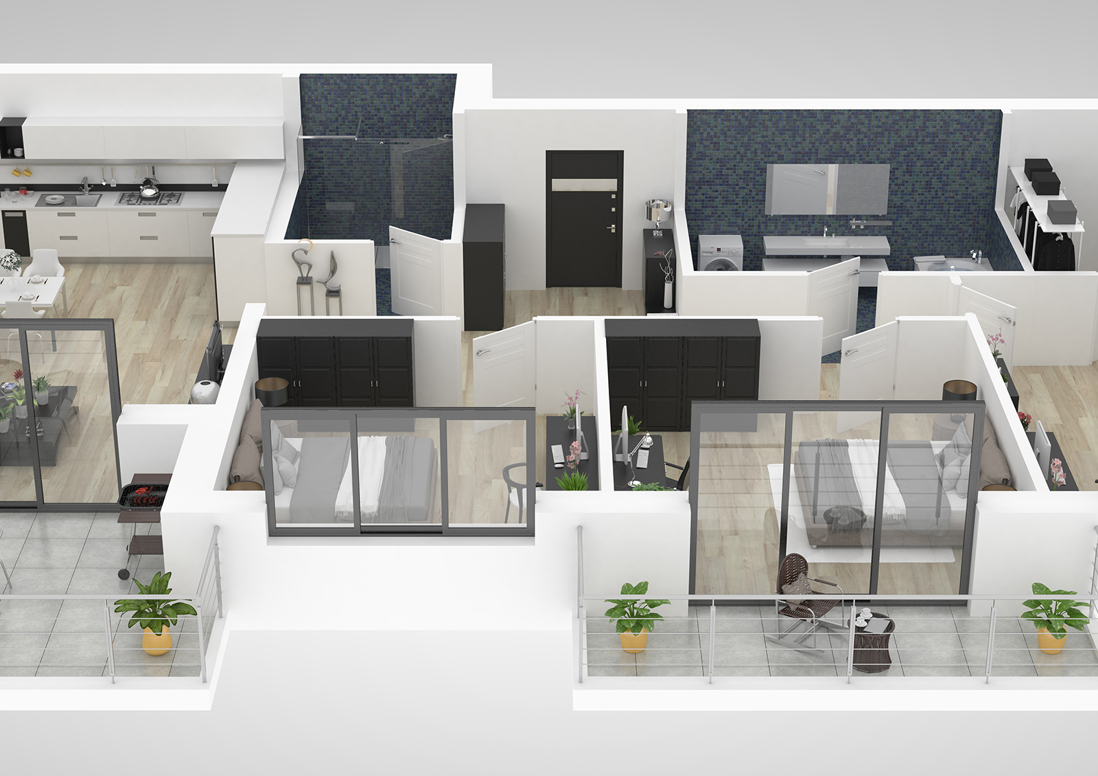 Floor plan of a house top view 3D illustration. Open concept liv